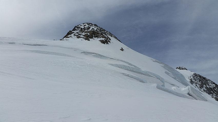 Blick zum Skidepot - Skitour Zuckerhütl