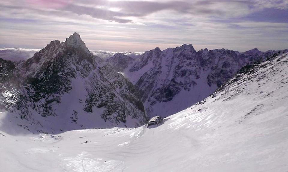 Ausblick auf die Rysy Hütte und die slowakische Seite der Tatra