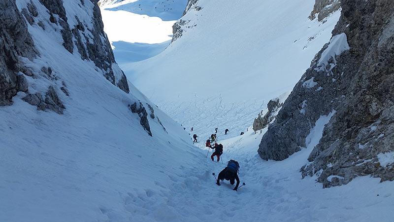Skitour Hochglück - Skidepot unterhalb der Scharte