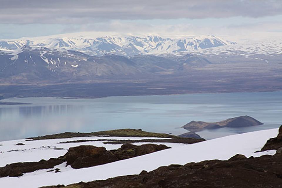 Hengil Hochfläche mit Blick nach Norden bis zum Langjökull