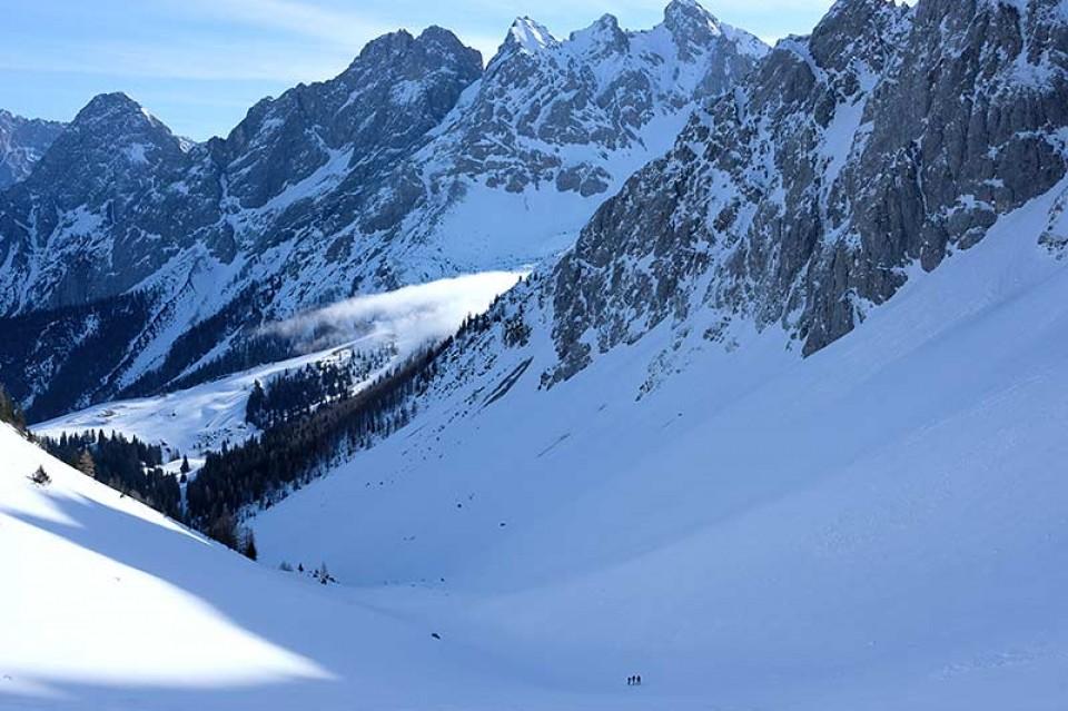 Skitour Hochwannig - Die lange Querung vom Skigebiet ins Kar