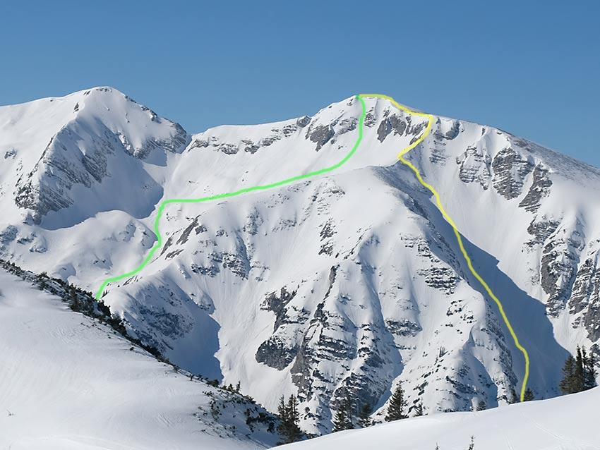 Aufstieg (gelb) und Abfahrt (grün) vom Guffert aus gesehen