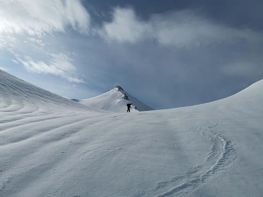Skitour Neunerkar - Die Scharte mit Blick zur Großen Seekarspitze